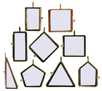Lacis tools materials framed 2 sided hinged double glass pendants nickel plated brass frame for display of lace needlework etc includes a hanging loop various sizes aloadofball Gallery